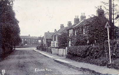 Carries postcards - Elvington from Harriet 1908